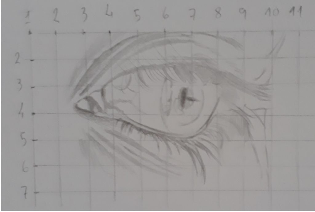desenho do olho com grade 1024x691 - Desenhar Fácil em 4 Passos -  para iniciantes