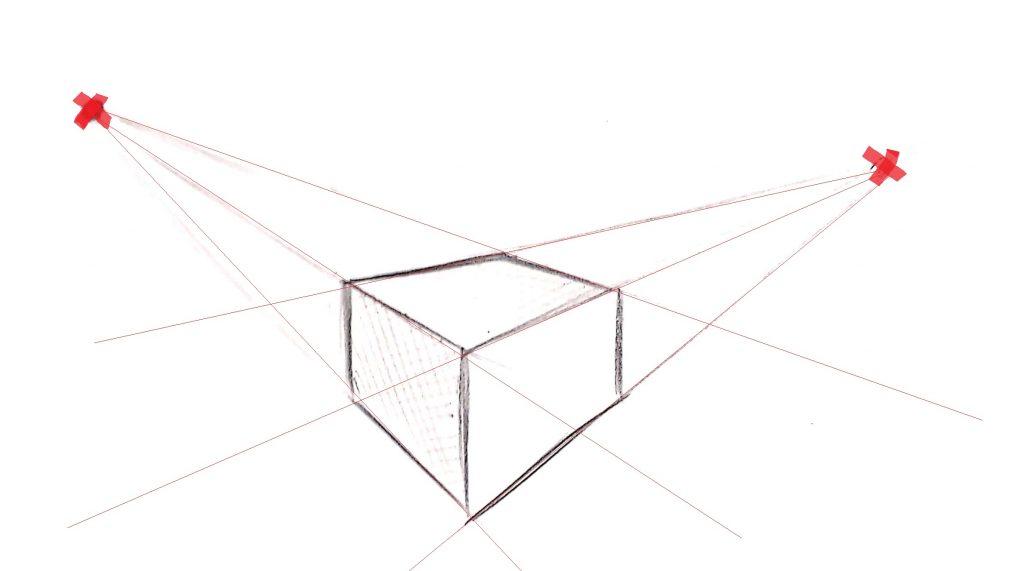 cubo com pontos de fuga 1024x571 - Desenho realista: Manual completo parte 1