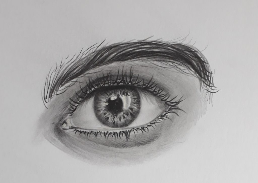 desenho de olho com caneta gel branca 1024x725 - Como desenhar um olho num piscar de olhos