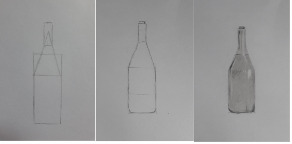 desenho esboço garrafa 1024x504 - Aprender a desenhar: esboço, uma etapa essencial