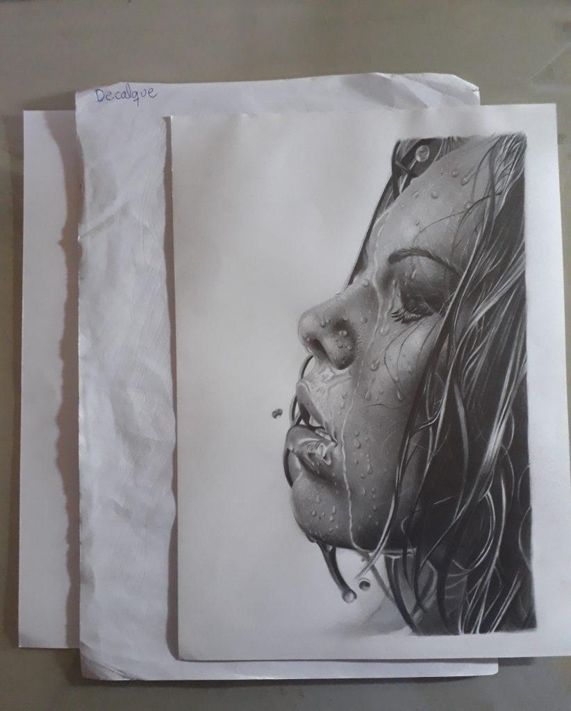 fazendo decalque de desenho realista 822x1024 - Desenho realista: Manual completo parte 1