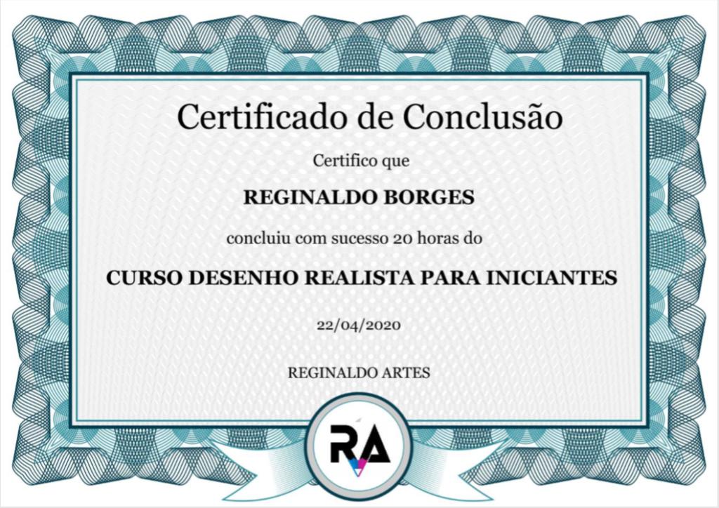 certificado reginaldo artes - CURSO DE DESENHO REALISTA PARA INICIANTES