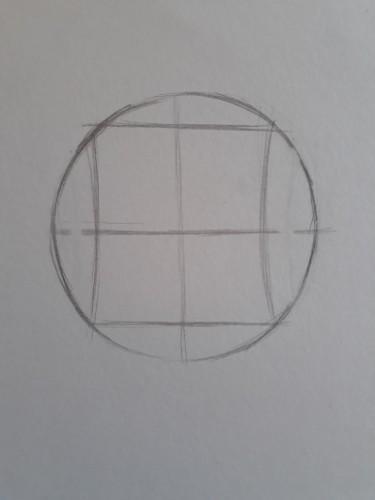 loomis frontal passo 3 - Como desenhar rosto de frente em 13 passos: método Loomis parte 3