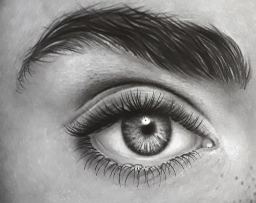 olho feminino - Como usar esfuminho no desenho- tutorial completo