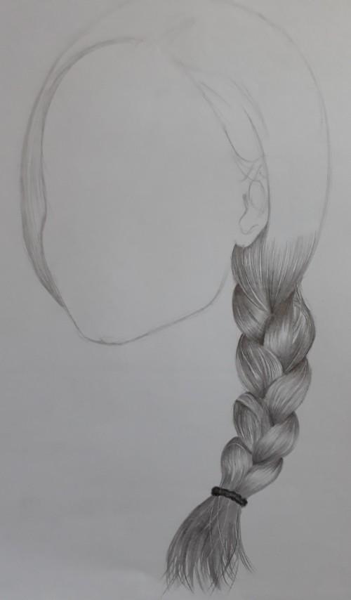 desenho esboço trança2 - Como desenhar trança passo a passo descomplicado