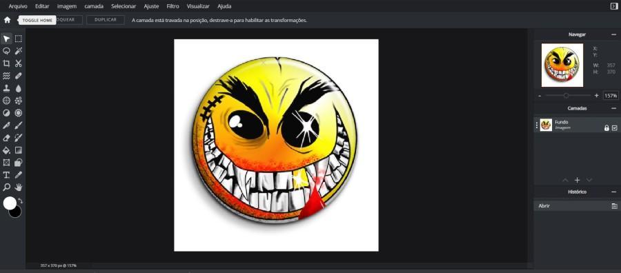 Pixlr E interface com smile - Como ganhar dinheiro com arte - Print on Demand funciona?