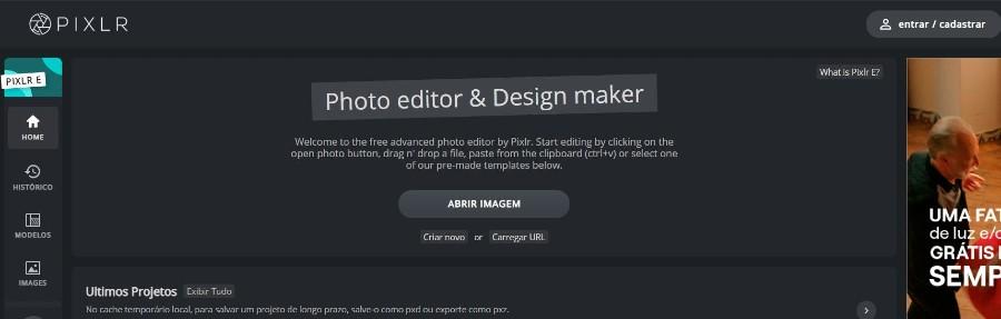 pixlr E interface - Como ganhar dinheiro com arte - Print on Demand funciona?