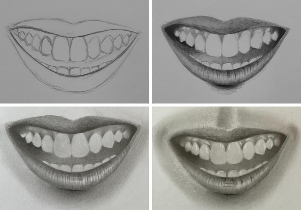como desenhar um dente