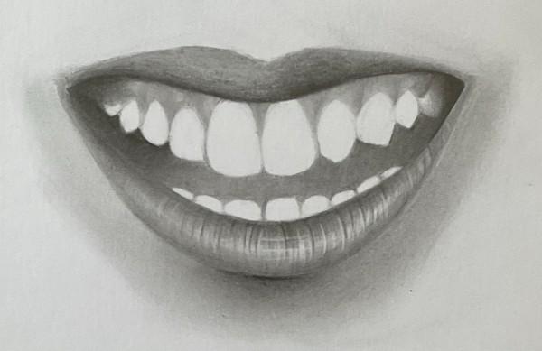 boca sorrindo esfumada faltando desenhar dentes - Como desenhar um dente realista - rápido, fácil e simples