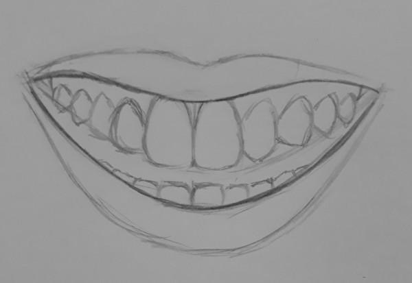 como desenhar dentes 5 - Como desenhar um dente realista - rápido, fácil e simples
