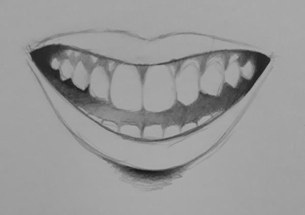 como desenhar dentes 6 - Como desenhar um dente realista - rápido, fácil e simples